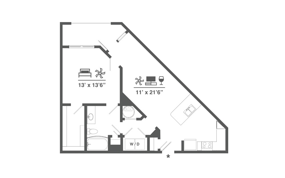 A3 - 1 bedroom floorplan layout with 1 bath and 815 square feet.