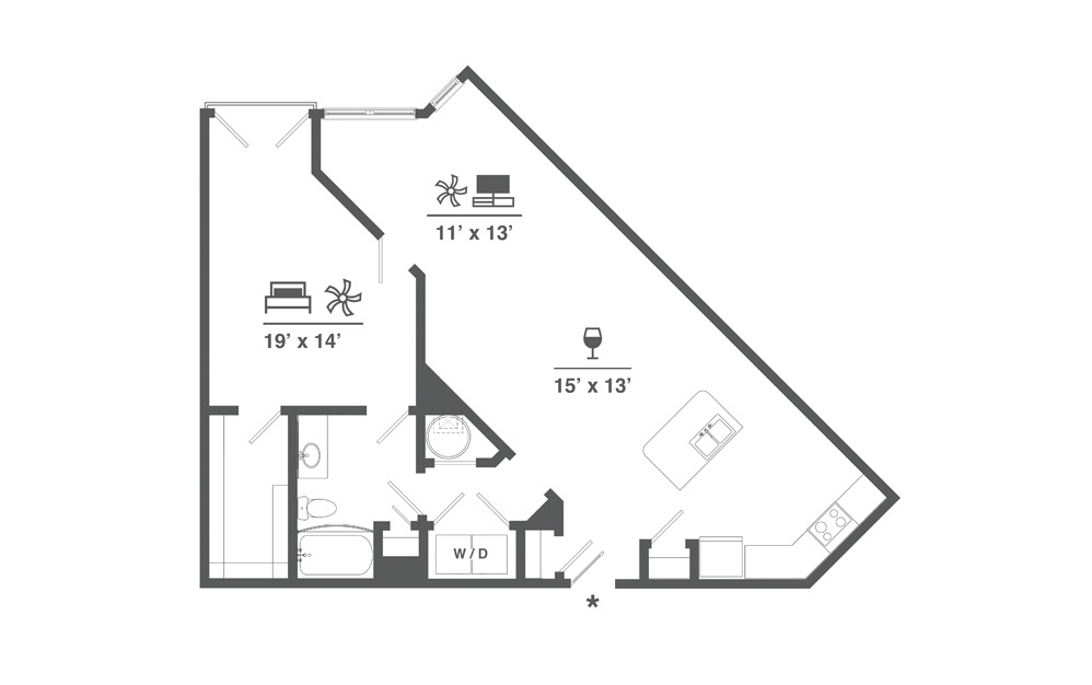 A4 - 1 bedroom floorplan layout with 1 bath and 1061 square feet.