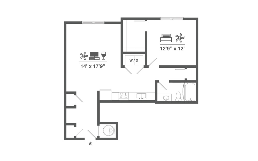A5 - 1 bedroom floorplan layout with 1 bath and 857 square feet.