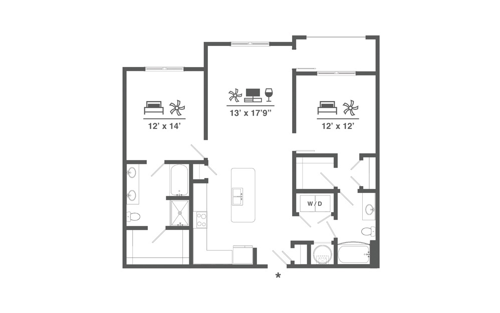 B11 - 2 bedroom floorplan layout with 2 baths and 1244 square feet.
