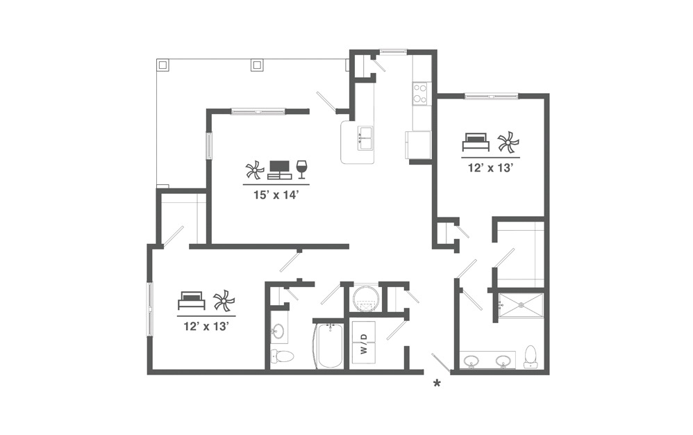 B2 - 2 bedroom floorplan layout with 2 baths and 1294 square feet.