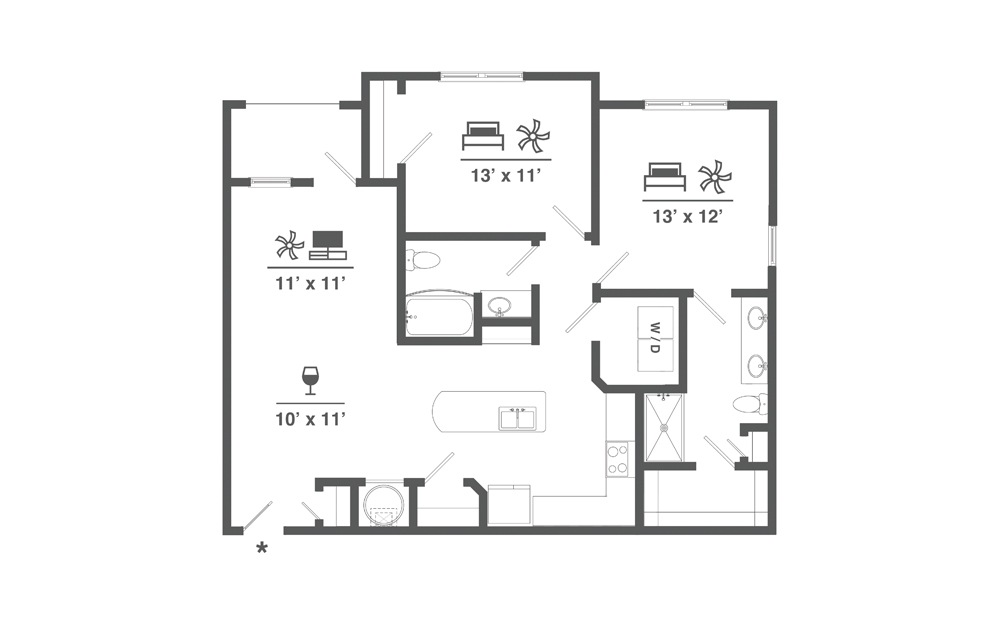 B7 - 2 bedroom floorplan layout with 2 baths and 1181 square feet.