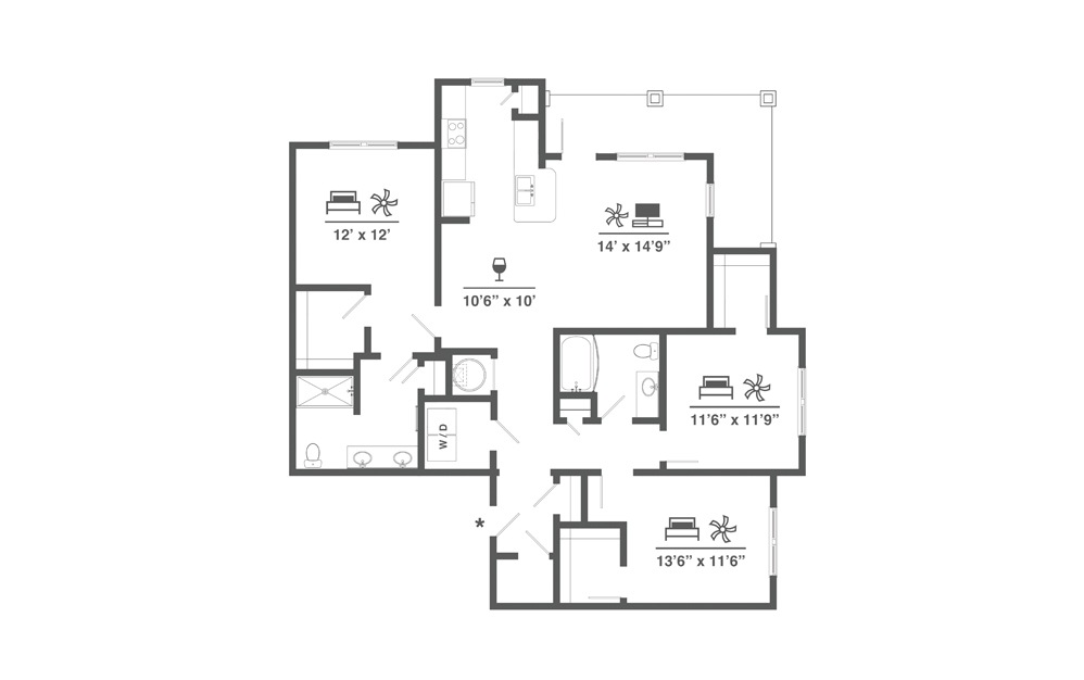 C1 - 3 bedroom floorplan layout with 2 baths and 1535 square feet.